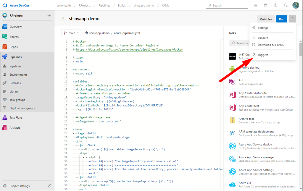 How link the Library in your pipeline - Customize your pipeline in Azure DevOps