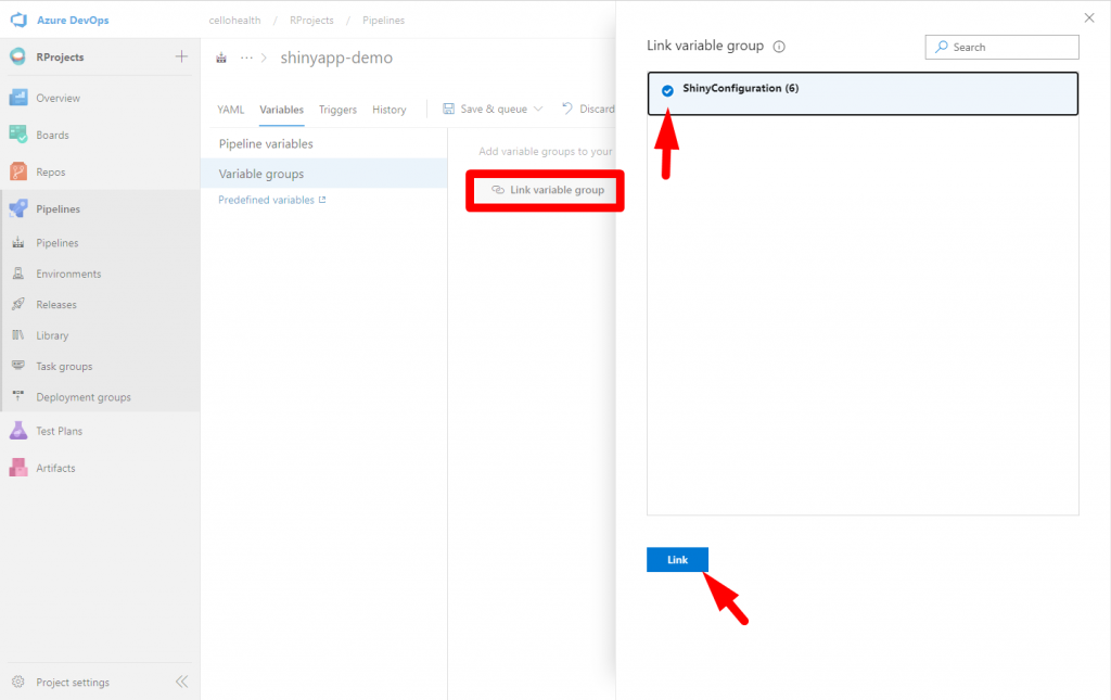 Link variables group from the Library in Azure DevOps - Customize your pipeline in Azure DevOps