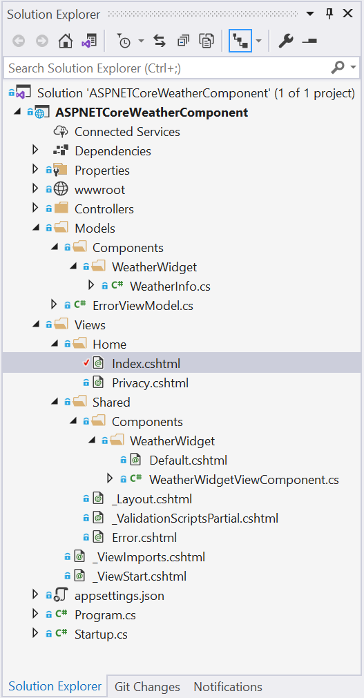 The solution structure - Creating View Components in ASP.NET Core