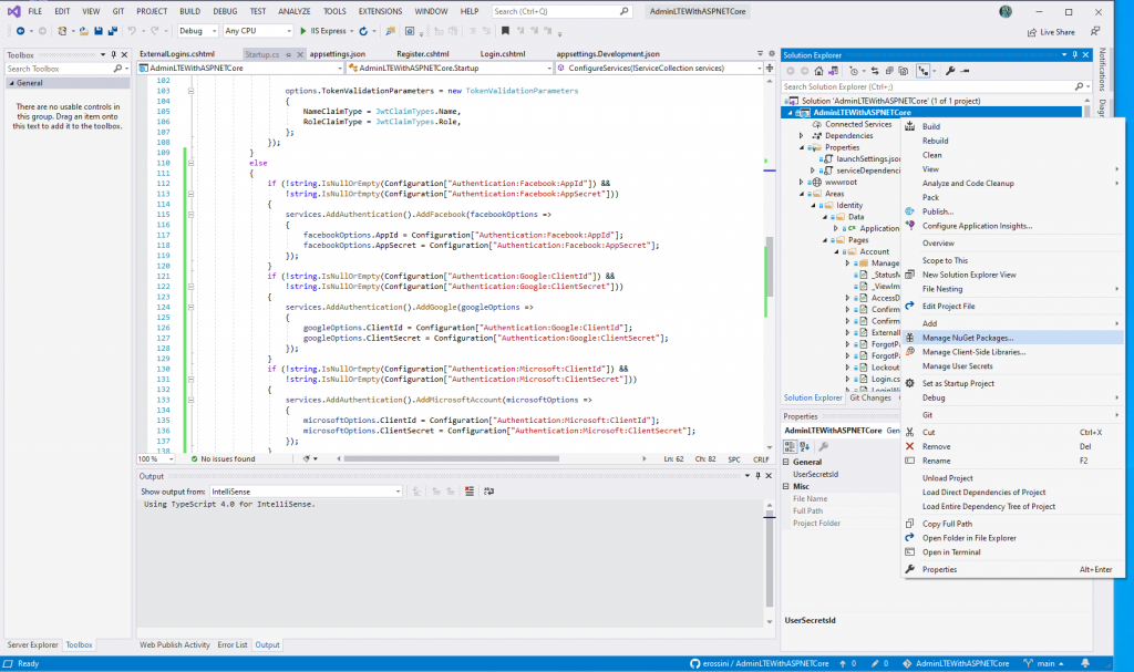Manage NuGet packages for the project - External providers in AdminLTE project