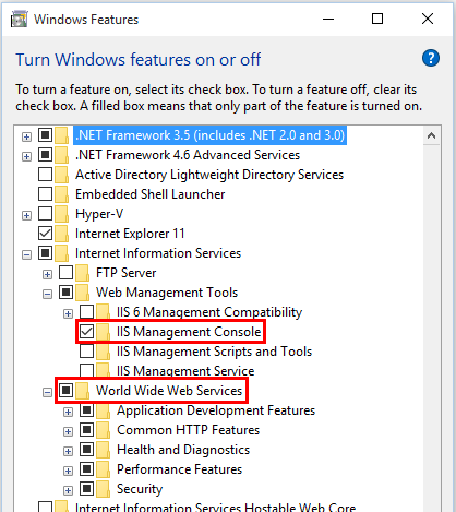 IIS Management Console and World Wide Web Services are selected in Windows Features.