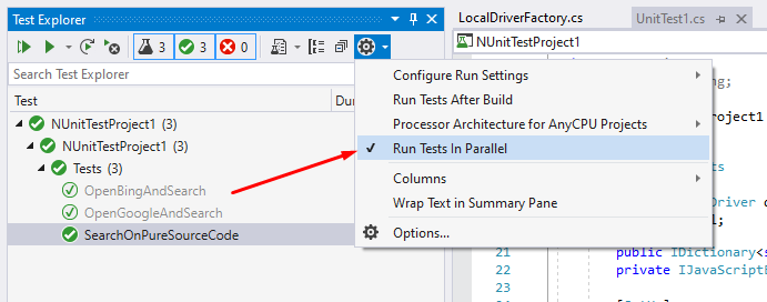 Run test in parallel in Test Explorer