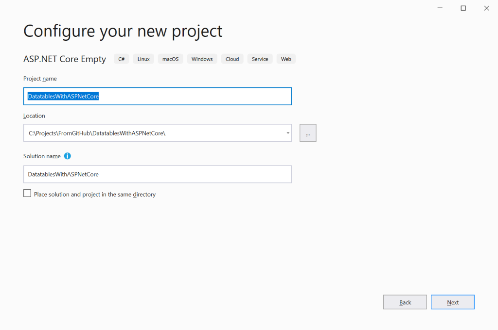 Configure your new project - Datatables in ASP.NET Core Server-Side