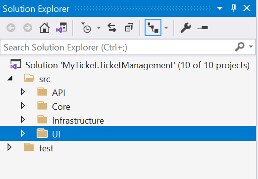 Solution folder structure - Setting up the application ASP.NET Core