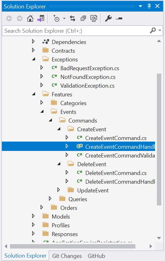 Exceptions folder in the project - Adding validation using Fluent Validation