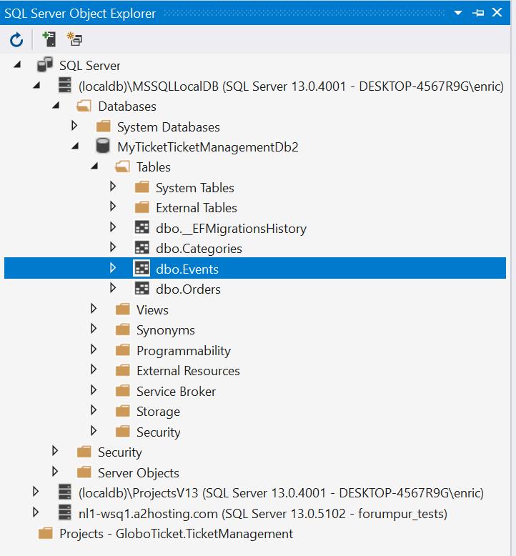 MyTicket database created - Adding an API using ASP.NET Core