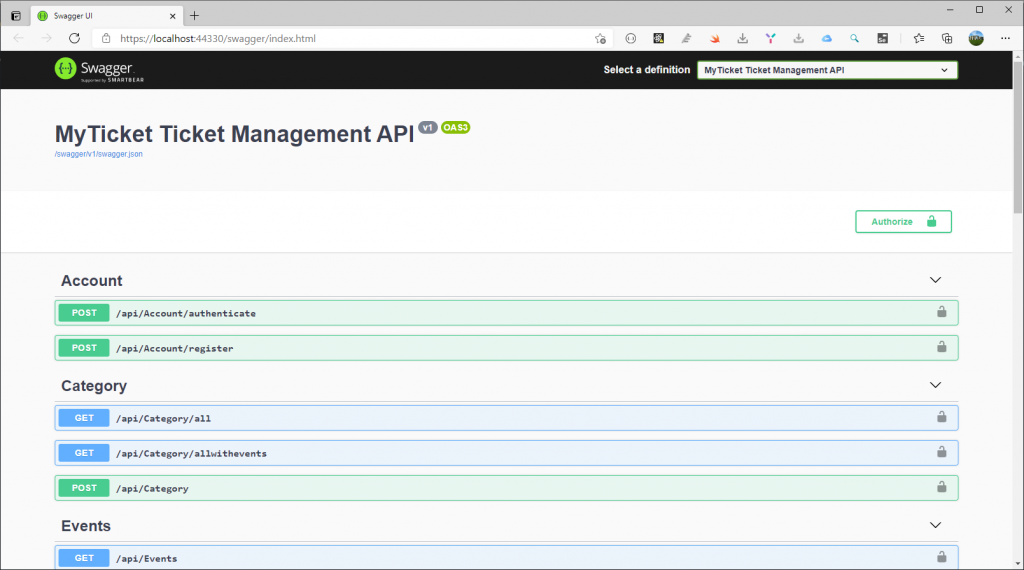 MyTicket API with Swagger