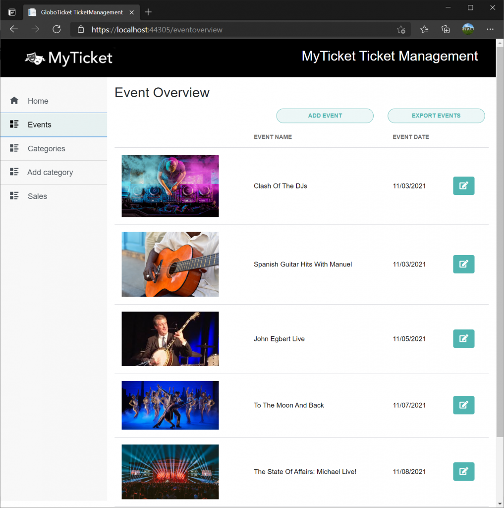 List of events in MyTicker application