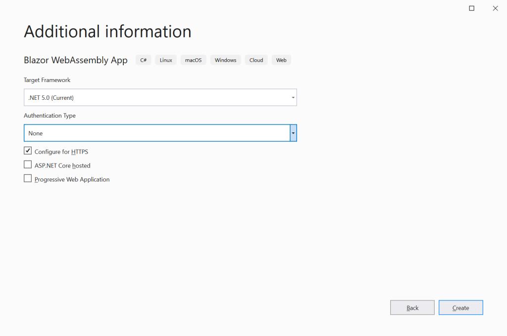 Additional information - Setting up a Blazor WebAssembly application