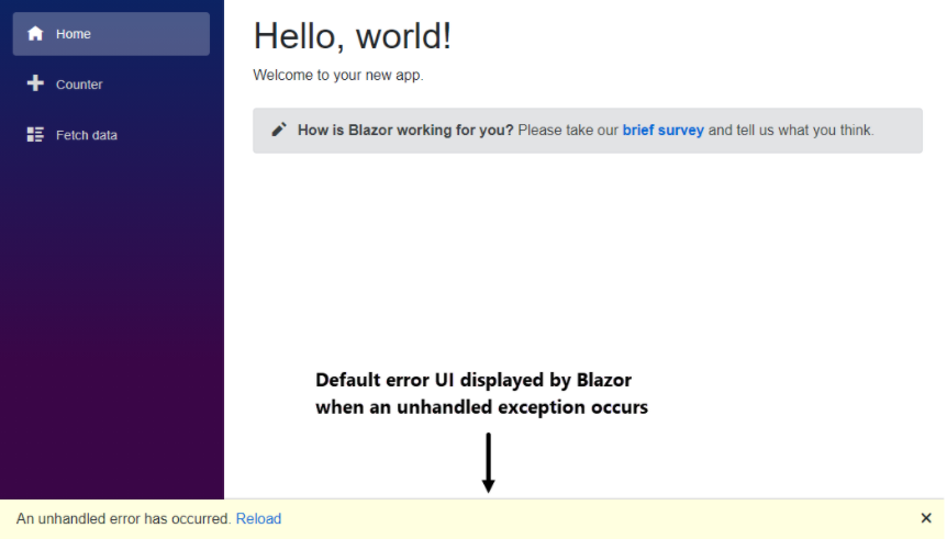Exception bar in a Blazor application