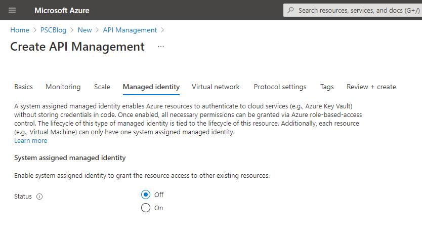 Managed identity for API Management