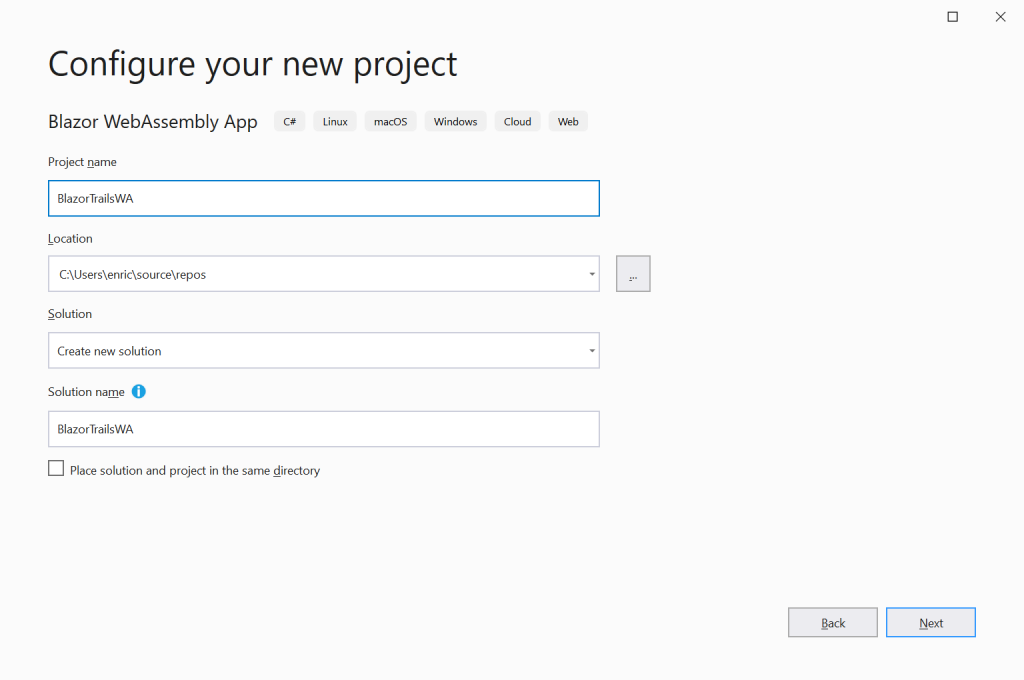 Configure your new Blazor project - Setting up a Blazor WebAssembly application