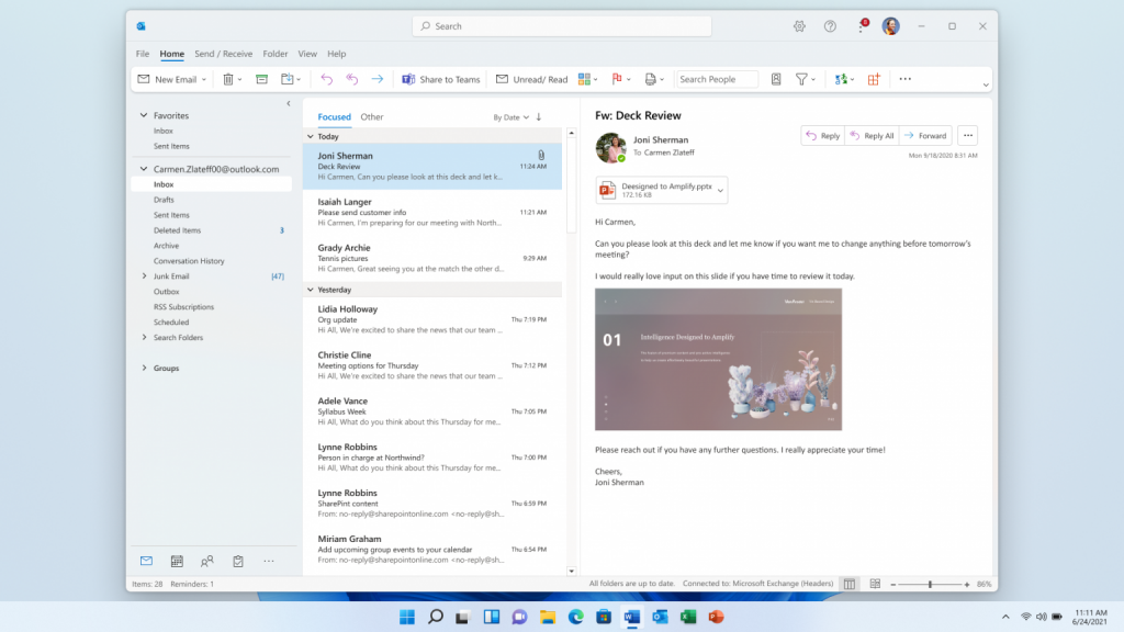 Sharing a deck in Outlook on Windows 11