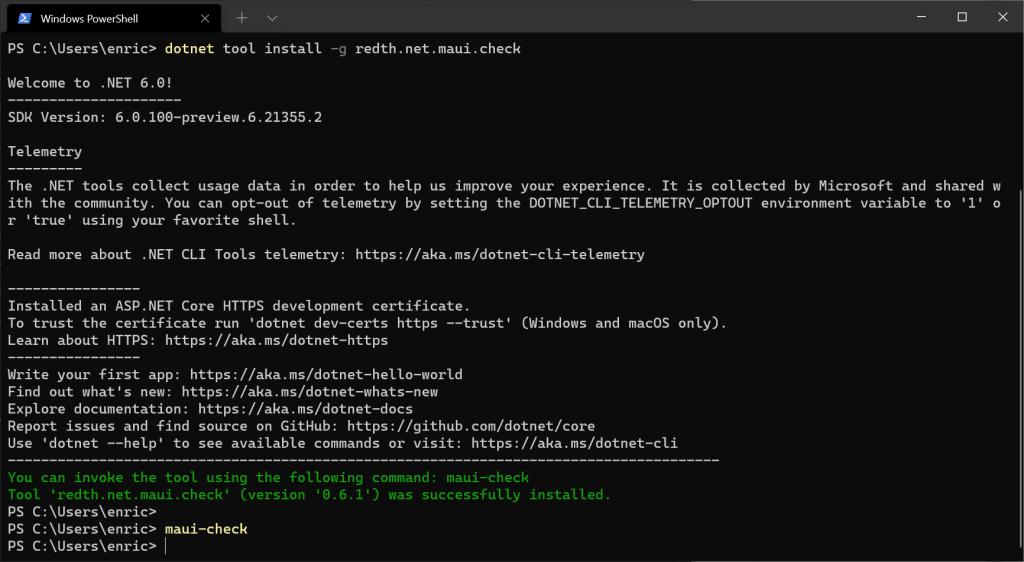 Install .NET MAUI from Windows PowerShell - Install MAUI with Visual Studio 2022