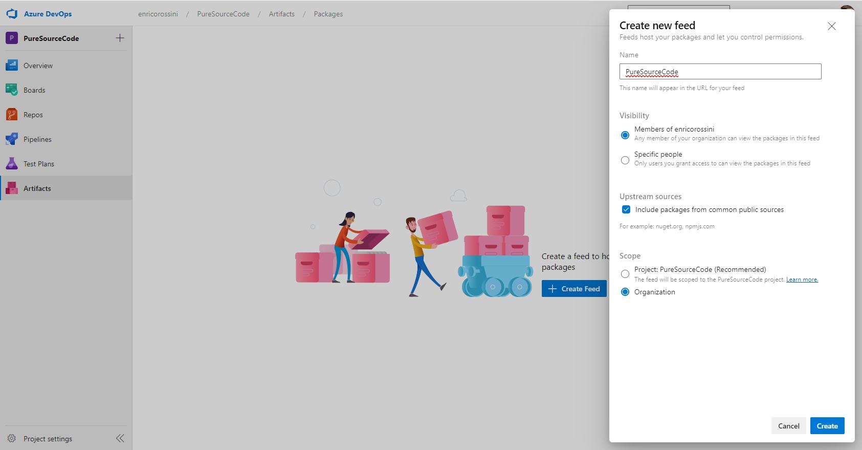 Create new feed in Azure DevOps Artifacts - NuGet package with Azure DevOps