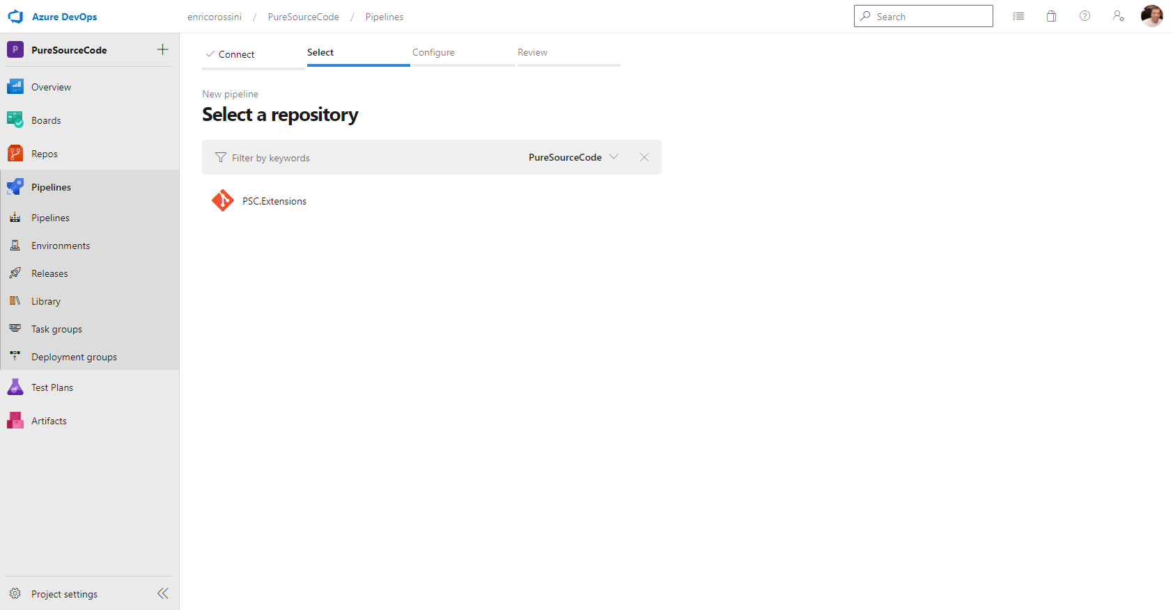 Select a repository in Azure DevOps for pipeline
