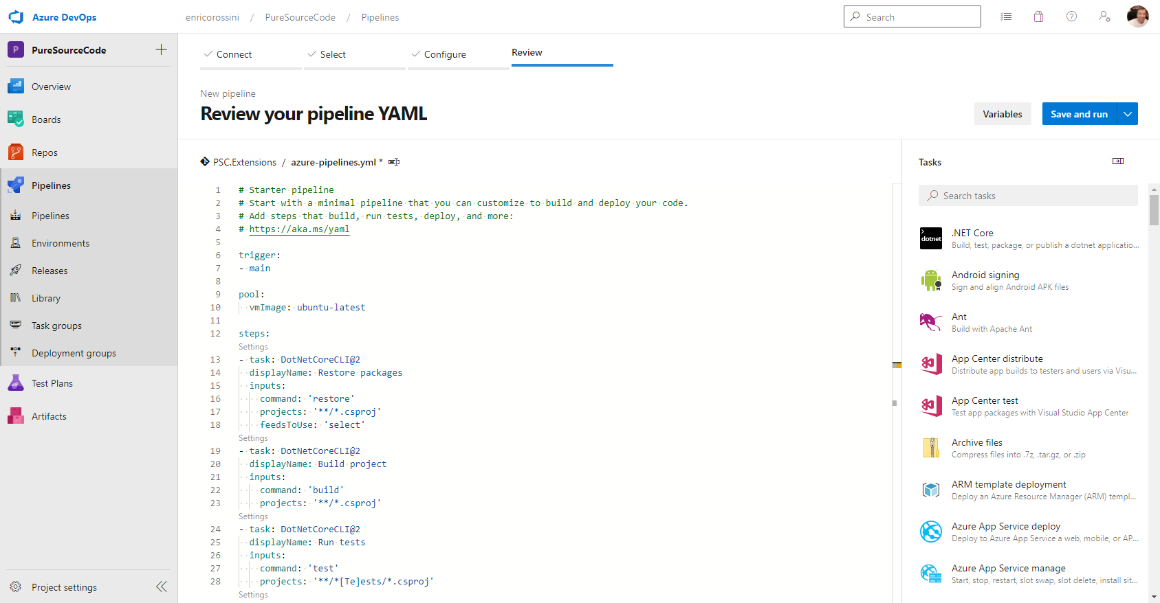 Review your pipeline YAML