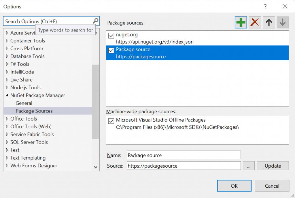 New Package source in Visual Studio 2021