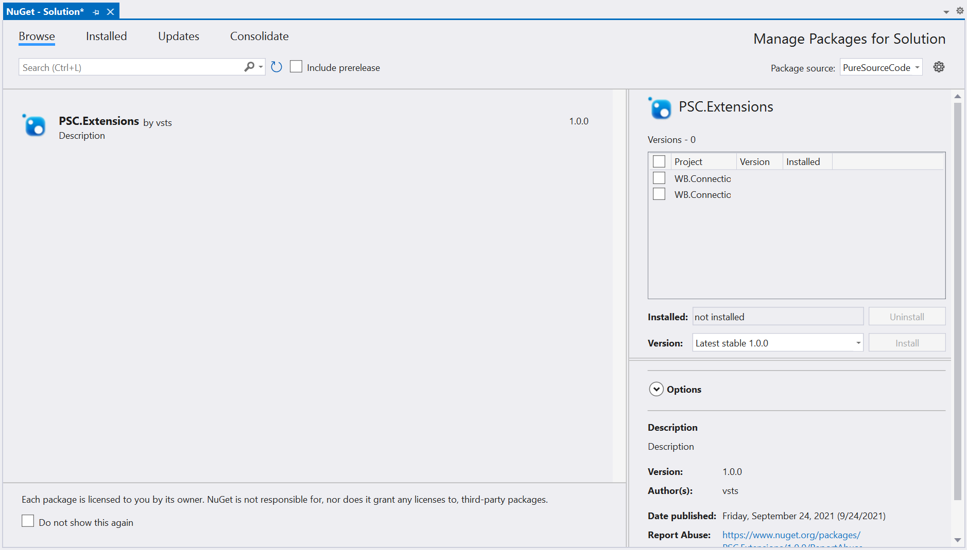 Manage Packages for Solution in Visual Studio 2021