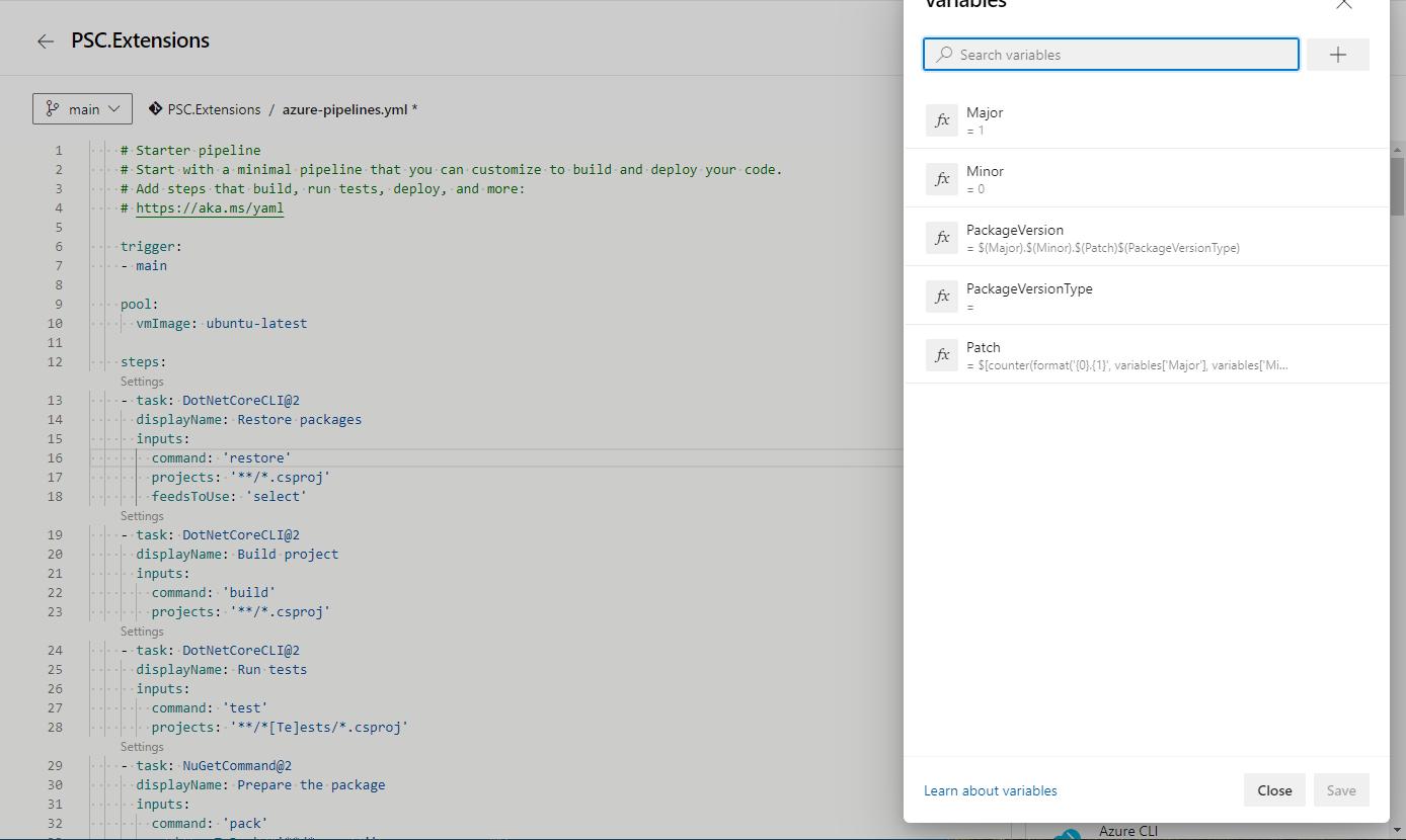 Add variables in the Azure DevOps pipeline - NuGet package versioning with DevOps