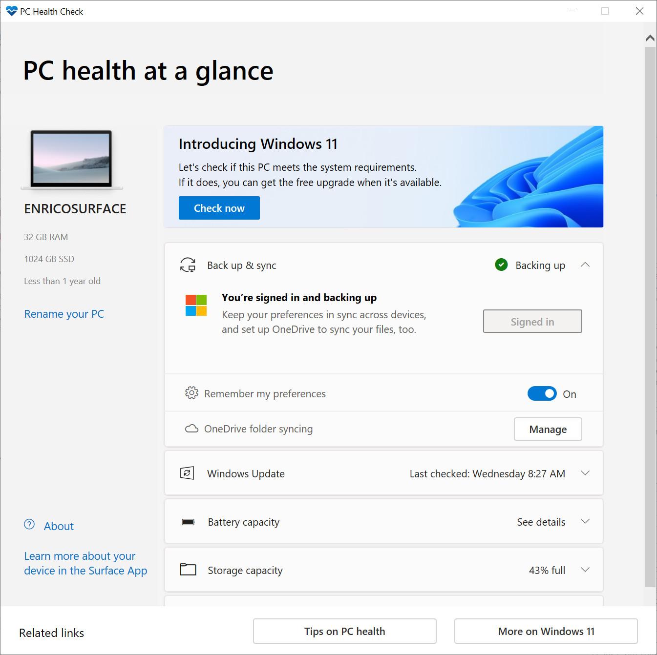 Windows11 PC Health Check