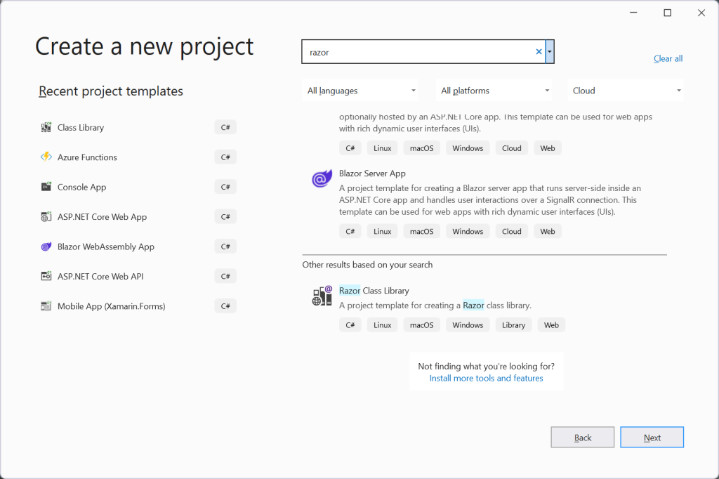 Create a new project with Visual Studio 2022 - Segment control for Blazor